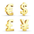Golden currency symbols isolated on white with clipping path Royalty Free Stock Photos