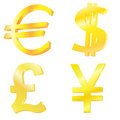 Golden currency symbols on the white background Royalty Free Stock Image