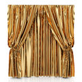 Golden curtains d render of isolated at white background Stock Photos