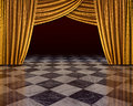 Golden curtains stage Stock Photography