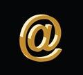 Golden 3d email symbol vector