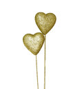 Heart-shaped golden sign board, isolated on white