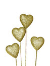 Golden decoration heart isolated on white