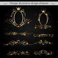 Golden decorative design elements vector set of Royalty Free Stock Photo