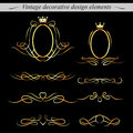 Golden decorative design elements vector set of Royalty Free Stock Images