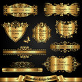 Golden decorative design elements - vector set Royalty Free Stock Photo