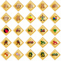 Golden decorative rhombs with toys Royalty Free Stock Image
