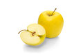 Golden delicious apple on a white background Royalty Free Stock Images