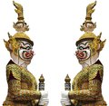 Golden Demon Warrior Isolated ,Thailand Royalty Free Stock Images