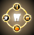 Golden dental wheel health care advices brushing flossing healthy food and visits gold color clean and bright design Royalty Free Stock Images