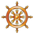 Golden Dharma wheel. Buddhism religion symbol.