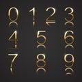 Golden digits with diamonds font set Stock Photos