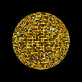 Golden disco ball. Shiny illuminated disco ball on a dark background for design flyers posters and other. Vector illustration with Royalty Free Stock Photo