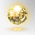 Golden disco ball. Vector illustration. Isolated. Night Club party light element. Bright mirror silver ball design for disco dance