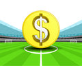 Golden Dollar coin in the midfield of football stadium vector Royalty Free Stock Photo