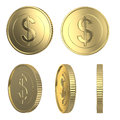 Golden dollar coins isolated on white with clipping path Stock Image