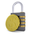 Golden dollar and combination lock d render isolated on white background Royalty Free Stock Photography