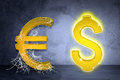 Golden dollar and euro sign in spider web Royalty Free Stock Photo