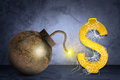 Golden dollar sign with bomb in spider net Royalty Free Stock Photo