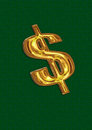 Golden dollar sign on green backround Stock Image