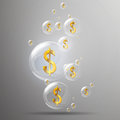 Golden dollar signs illustration of shiny bubbles and in it Royalty Free Stock Images