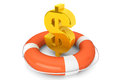 Golden dollar symbol in Life Buoy Stock Photos