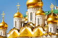 Golden domes of Annunciation Cathedral, Moscow Royalty Free Stock Photo