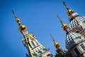 Golden domes of ascension cathedral of almaty Royalty Free Stock Photography