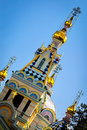 Golden domes of ascension cathedral of almaty Stock Photos