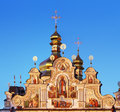 Golden domes of kiev pechersk lavra in the evening Royalty Free Stock Photos