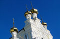 Golden domes of Orthodox christian church Royalty Free Stock Photo