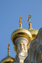 Golden domes of an orthodox church in yalta crimea Royalty Free Stock Images