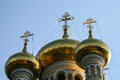 Golden domes of an orthodox church in yalta crimea Stock Photos