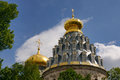 Golden domes of resurrection cathedral in new jerusalem istra magnificent the main the monastery framed with Royalty Free Stock Photography