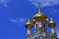 Golden domes of russian cathedral Royalty Free Stock Photography