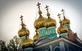 Golden domes is on the st nicholas cathedral in almaty kazakhstan Royalty Free Stock Photography