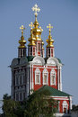Golden domes of transfiguration church in moscow novodevichy convent the north gate famous witness noble and royal women is linked Royalty Free Stock Photo