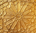 Golden door detail with moroccan geometrical decorations morocco Stock Photos