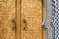 Golden door detail of the royal palace in fes morocco Royalty Free Stock Photos