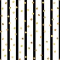 Golden dots pattern on black and white striped. Royalty Free Stock Photo