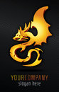 Golden dragon gold d vector Royalty Free Stock Images