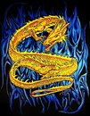 The golden dragon this is a hand drawn gold with an abstract blue flame black background represents power nobility and valor in Stock Photography