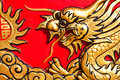 A golden dragon stucco Royalty Free Stock Photography