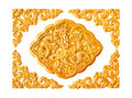 Golden dragon stucco decoration elements isolated