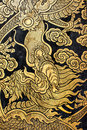 Golden dragon thai pattern art at wat nang chee chotikaram bangkok thailand Royalty Free Stock Photos