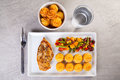 Golden duchess potatoes with grilled chicken and mexican vegetables picture of Royalty Free Stock Photography