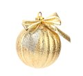 Golden dull christmas ball on white background Stock Photography