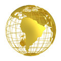 Golden Earth planet 3D Globe isolated Royalty Free Stock Photo
