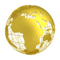 Golden Earth planet 3D Globe isolated
