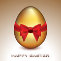 Golden easter egg vector illustration of a cute with silky red bow representing celebration of Stock Photography